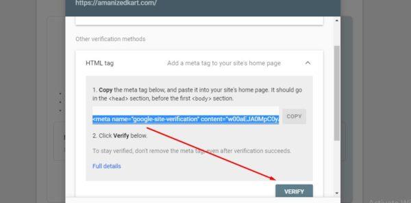 Google search verification